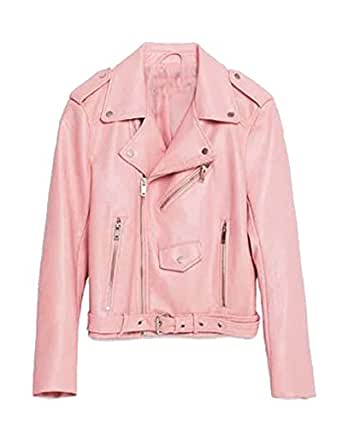 SaiDeng Donna Punk Stile Jacket Moto Pu Pelle Giacca A Manica Lunga Pink Xs