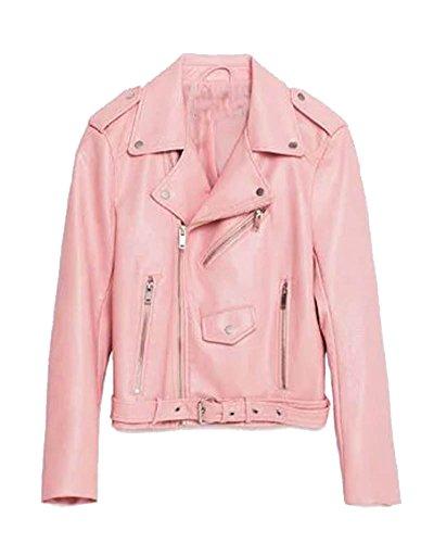 SaiDeng Donna Punk Stile Jacket Moto Pu Pelle Giacca A Manica Lunga Pink