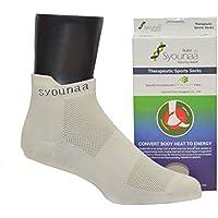 Syounaa Men's Celliant Ankle Socks (Beige, Free Size)