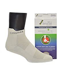 Syounaa Therapeutic Sports Socks For Men - Free Size, Quarter Style Ankle Socks (Gym Socks, Running Socks, Tennis Socks, Cycling Socks, Yoga Socks, Athletic Socks)
