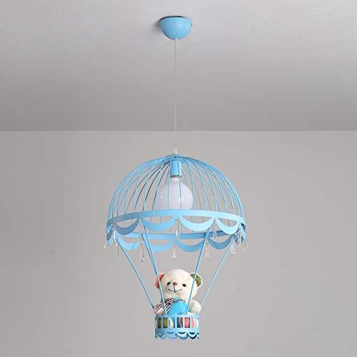 DECORATZ Kinderzimmer Netter Bär Dekoration Kronleuchter Deckenleuchte, LED E27 Schraube Kreative Heißluftballon Form Lampenschirm Höhe * 60 cm Eisen Leuchte für Schlafzimmer-Blue*D44CM - Messing-tiffany-wandleuchte