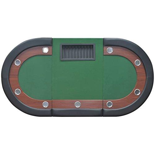 vidaXL Pokertisch für 10 Spieler mit Dealerbereich und Chipablage Grün - 6