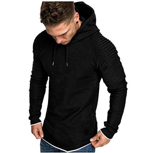 Xmiral Herren Sweatshirt Top Herbst Langarm Plaid Hoodie Mit Kapuze T-Shirt Outwear Streetwear Kapuzenpullover Outdoor Sportbekleidung(Y Schwarz,M)
