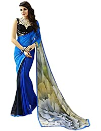 Finix Fashion Women's Georgette & Chiffon Saree With Blouse Piece (Blue)
