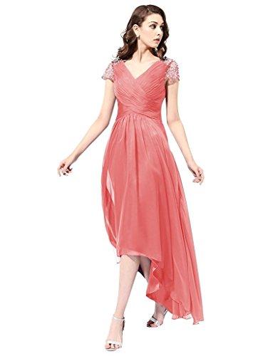 JYDress - Robe - Plissée - Femme Corail