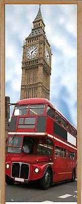 Stickersnews - Sticker pour porte plane Bus Londres 93x204cm réf 202