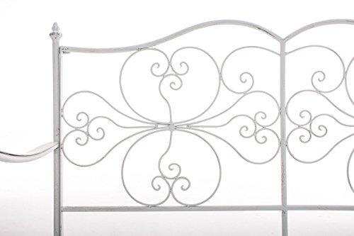 CLP 2er Garten-Bank ANNO V2 mit Armlehne, im Landhausstil, Metall Sitzbank (Eisen lackiert), grazile Form, stilvolle Verzierungen Antik-weiß - 3