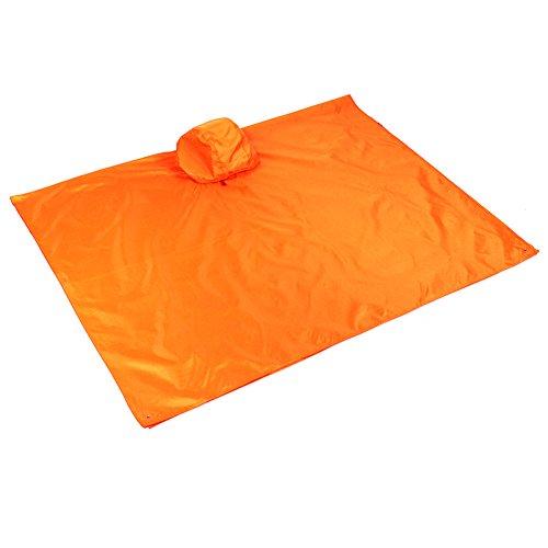 Monotech pioggia poncho 3in 1multifunzionale impermeabile pioggia cappotto con cappuccio, protezione solare plane, matte zaino per campeggio escursionismo picnic pesca e altre attività all' aperto, orange