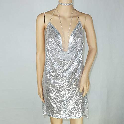 QXAHR Kleid Womens Kleider Partykleid Metallkette Sling Rückenfreies Tiefes V-Kleid M Silber (Silver Womens Cocktail Kleider)