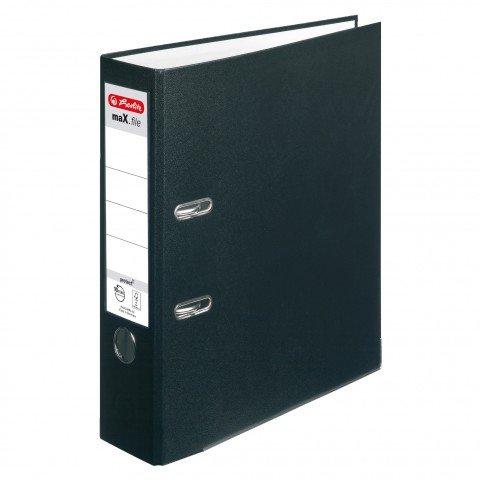 Ordner maX.file protect+ A4 Voll-PP-Folienbezug Wechselfenster 4er Pack breit (schwarz breit, 4)