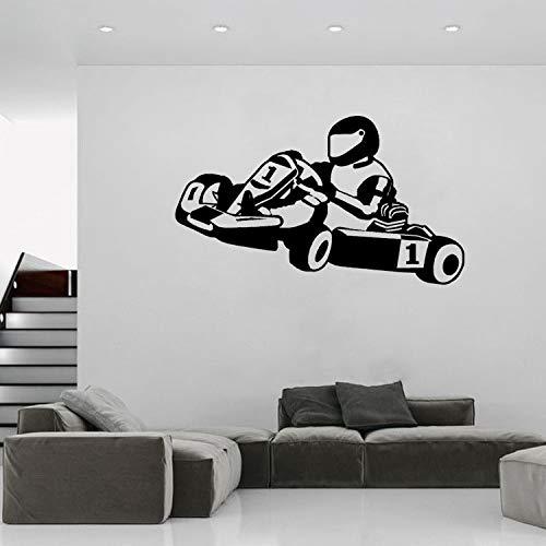 WALSITK Kinderzimmer wandaufkleber Kart Club Karting rennbahn Aufkleber Junge Zimmer kreative kinderzimmer schwarz 57x98 cm