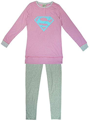 Damen Dc Comics Logo Supergirl Langarmshirt & Hose Schlafanzug EU 6 zu 12 - Rosa, XS (UK 6)
