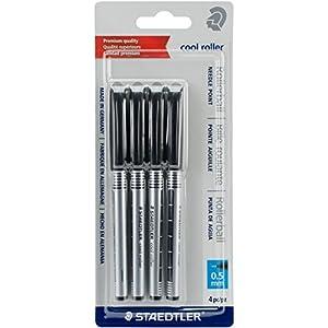 STAEDTLER Bolígrafos de Punta Redonda Cool Roller, Paquete de 4 Unidades, Negro