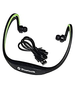 Mobile Link Wireless Bluetooth Headset/Headphone Sports On-ear BS19C Sports Bluetooth Headset (with Micro Sd Card Slot and FM Radio) Green for Spice Mi-401