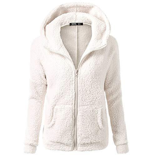 iHENGH Damen Mantel Top,Women Herbst Kapuzenpullover Fell Winter Warme Wolle Jacke ReißVerschluss Baumwollmantel Outwear Strickjacke Coat (EU-36/CN-M,Weiß)