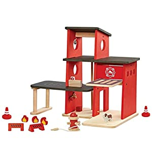 PlanToys- Fire Station Estación de Bomberos, Color múltiple (6272)
