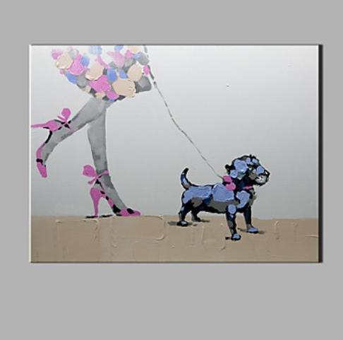 Preisvergleich Produktbild ZYT Einzelne moderne abstrakte reine Hand zeichnen bereit. dekorative Ölgemälde zu Fuß den Hund zu hängen . 50*60CM