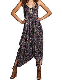 d7153b8c4ce4b7 Papaval Women Ladies V-Neck Summer Beach Harem Plain Jumpsuit Playsuit Top  Dress