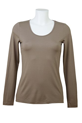 fashion4EVA Rundhals-Langarmshirt Made in Germany Taupe