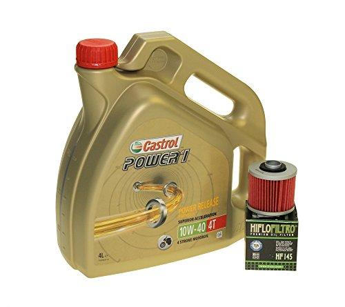 Cambio dell' olio set 4litri OLIO Castrol SAE 10W-40Power 14T Filtro HIFLO HF145per Aprilia Pegaso 650, Derbi, MZ/MUZ, Yamaha XT 600