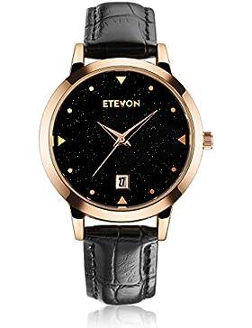 ETEVON Women Quartz Black Leather Strap Armbanduhr mit Datum Fenster Starlight Dial Rose Gold Edelstahl Case,...