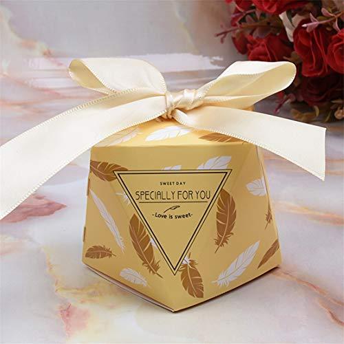 Kissherely Hochzeit Gunsten Box Geschenke Süßigkeiten für Gäste Schokolade Keks Verpackung Box Geburtstag Hochzeit Dekoration (Gold) (Hochzeit Gunsten Box-gold)