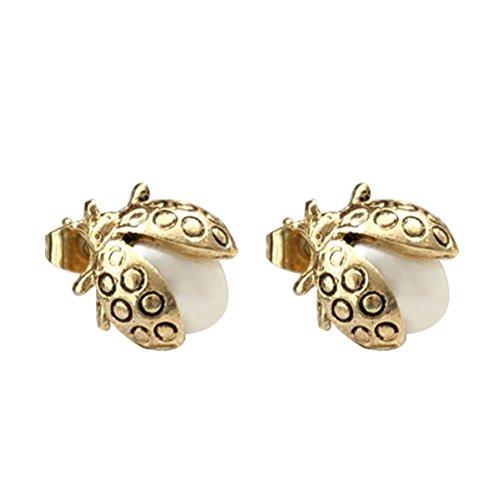 odeschmuck Legierungs Gewebe Handwerk Nachgemachte Perle kleine Marienkäfer Stil Hypoallergene Ohrringe (Marienkäfer Handwerk)
