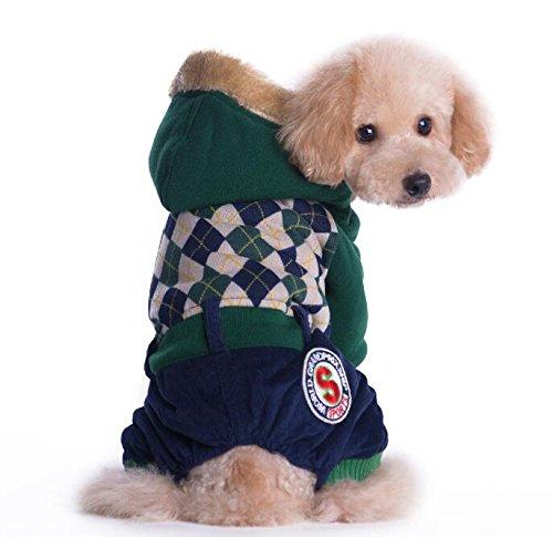 Kostüm College Warm - Warmes Haustier Haustier-Kostüm-britischer College-Art-Winter-Kleidungs-Katze Hundekleidung Grün S