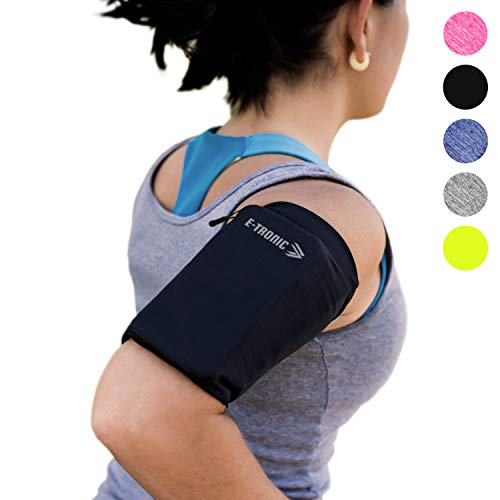 E Tronic Edge Handy Sportarmband | Handytasche Sport mit integrierten Kopfhörerlöchern für ALLE Handymodelle | Handy Sportarmband mit Reflektoren (M, Schwarz)