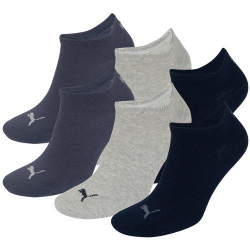 PUMA Unisex Sneakers Socken Sportsocken 6er Pack (navy-grey-blue / navy-grey-blue, 39-42) (Socken Blue Navy)