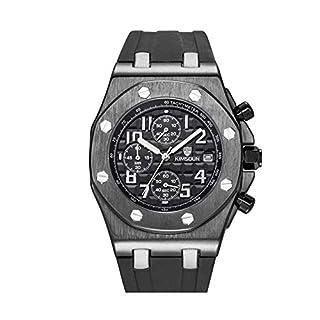 Men's Watches,Fashion Watch Silicone Belt Triple Eye Multifunctional Waterproof Quartz Watch Black Shell