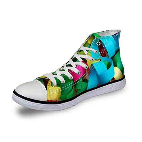 Womens High Top Canvas Shoes Casual Comfort Sneakers Ankle Boots Christmas Print Blue 11 -