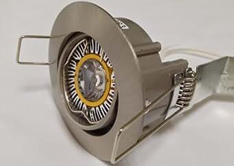 Kit of 3 x Quality MR11 3W 12V Cool White LED Downlights in Satin Nickel - Tilt / Adjustable