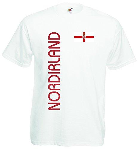 World-of-Shirt Herren T-Shirt Nordirland EM 2016 Trikot Fanshirt Weiss-L