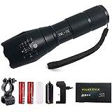Taschenlampe T6-1000 Lumen, Zoomable, 5 Modi, Wasserdicht, Handheld - Beste Camping, Outdoor, Notfall, Everyday Taschenlampen (Black SET)
