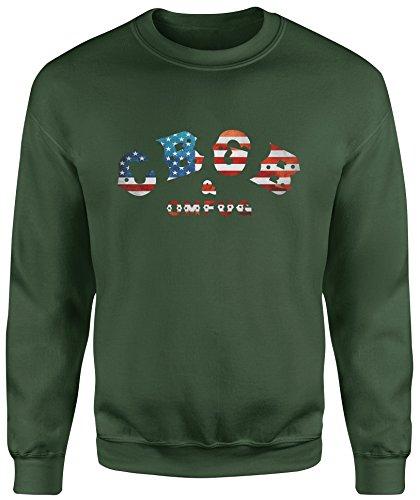 LaMAGLIERIA Sudadera Unisex CBGB USA Flag - Sudadera Set-in Punk...