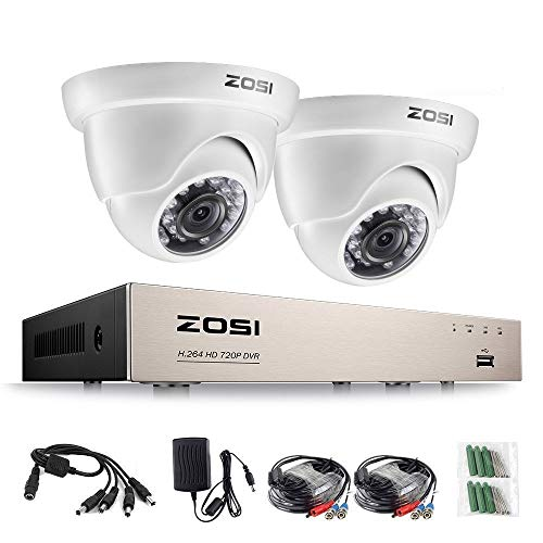 ZOSI 2pcs HD 720p Caméra de Surveillance Weatherproof 4CH 720p HD-TVI CCTV DVR Vidéo Enregistreur, HDMI 1080p Sortie, Alerte par Email Intelligent avec Image, Playback Intelligent, sans Disque Dur