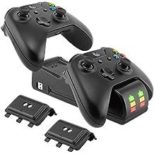 XBox One Controller Ladestation mit Akku Pack, Dual Controller Ladegerät mit 2 x 2200mAh Battery Packs für Xbox One / Xbox One S / Xbox One X / Xbox Elite Batterien Akkuladegerät