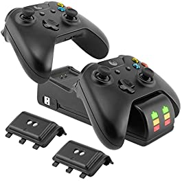 Caricabatterie e Batteria per Controller Xbox One, Dual Controller Charging Station con 2 Batterie RicaricabilI da 2200 mAh per Controller Xbox One / Xbox One S / Xbox One X / Xbox Elite Charge-kit
