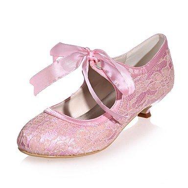 Wuyulunbi @ Femmes Chaussures Dentelle Printemps Été Pompe De Base Chaussures De Mariage Talon Bout Rond Lacets Pour La Fête De Mariage Et Soirée Blanc Rose Bleu Rose