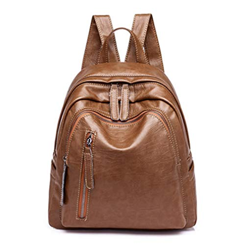 Frauen Leder Rucksack Solid Double Zipper Schultasche Brown 25x12x30cm -