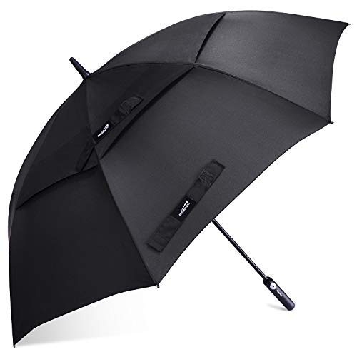Promover Golfschirm, 152,4 cm, automatisch, offen, extra groß, übergroß, doppelter Baldachin, belüftet, Winddicht, wasserdicht, schwarz
