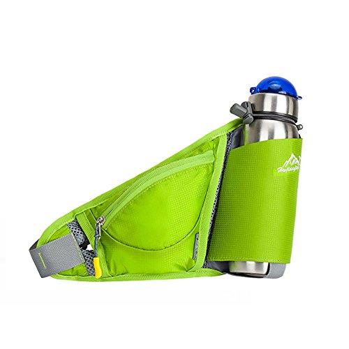 Hüfttasche mit Getränkehalter, Multi-Function Bauchtasche Licht Einstellbar Gürteltasche Hüftgürtel Tasche für Laufen Wanderungen Walken Sport und Reisen, Flasche nicht inclusive Grün