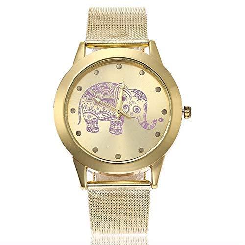ZXMBIAO Reloj De Pulsera Relojes De Acero Inoxidable De Las Mujeres De La Manera del Reloj del Elefante De La Malla del Oro, Oro