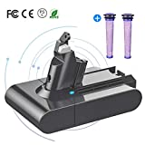 YABER Dyson V6 3000mAh Replacement Battery for Dyson V6 DC58 DC59 DC61 DC62 DC72 DC74 SV03 SV04 SV06 SV07 SV09 Handheld Vacuum Cleaner with 2xDyson Pre Filter