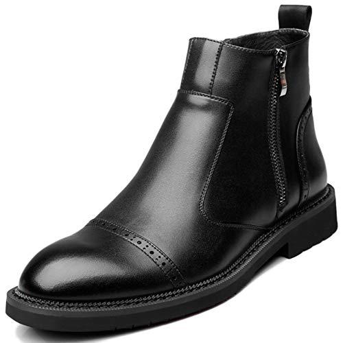 Herren Black Zip Leder Chelsea Boots Händler Smart Work Formale Casual Slip Auf Mid Ankle Boots Schuhe,Black-43 -