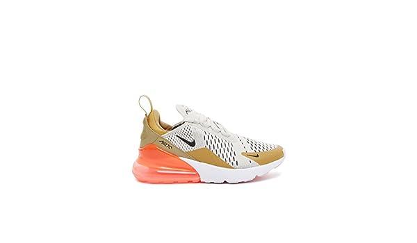 Nike Basket Femme AIR Max 270 Flat Gold en Tissu Blanc et Or