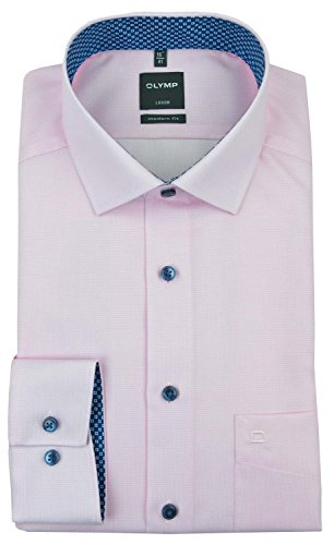 OLYMP Modern Fit Hemd Langarm Karo rosa Rosa