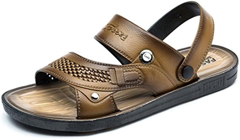 Sandalias de Verano para Hombres Zapatos Casual Cuero Transpirable Senderismo Sandalias los Hombres Al Aire Libre...