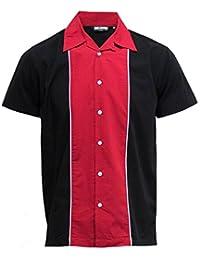 Relco - Chemise en coton pour homme - style rétro/rockabilly/bowling - rouge/noir
